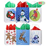 24 Christmas Kraft Paper Gift Bags with Handles Blue and White with Assorted Christmas Prints for Holiday Christmas Goody Bags, Xmas Gift Bags, School Classrooms and Party Favors: more info