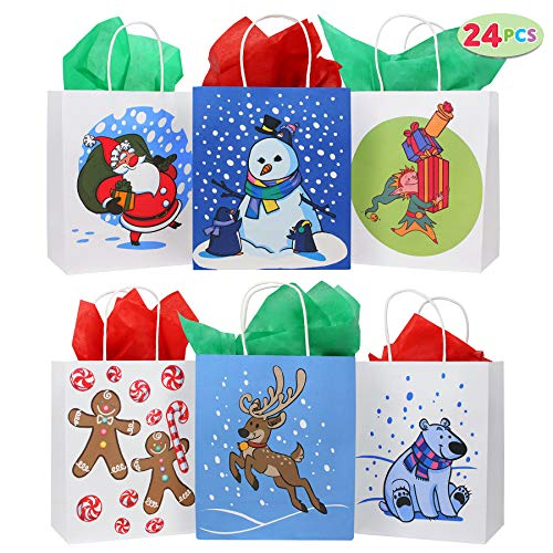 24 Christmas Kraft Paper Gift Bags with Handles Blue and White with Assorted Christmas Prints for Holiday Christmas Goody Bags, Xmas Gift Bags, School Classrooms and Party Favors for $<!--$15.99-->