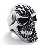 AmDxD Jewelry Stainless Steel Rings for Men Wedding Bands Skull Silver Black 38mm US 13