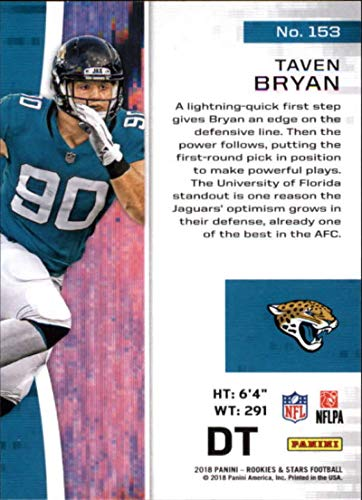 Amazon.com  2018 Panini Rookies and Stars  153 Taven Bryan NM-MT RC  Jacksonville Jaguars Official NFL Rookie Card  Collectibles   Fine Art cf7467d25