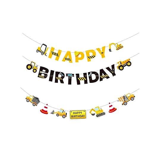 Amosfun 2pcs Monster Truck Banners de cumpleaños FELIZ ...