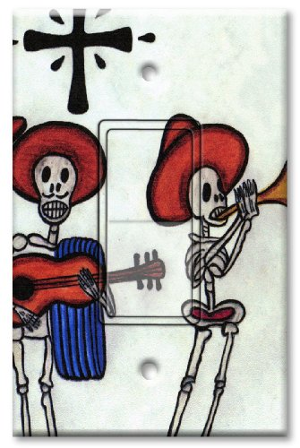 Switch Decora Style (Printed Decora Rocker Style Switch with matching Wall Plate - Day of the Dead - Poncho Band)