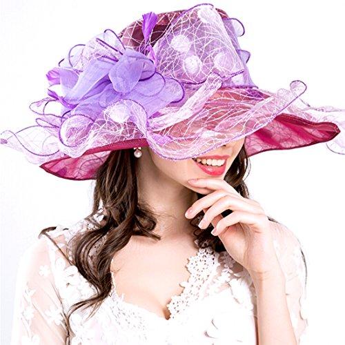 5f025c2bc6ab6 Harmony Life Women Foldable Organza Church Derby Hat Ruffles Wide Brim  Summer Bridal Cap For Wedding