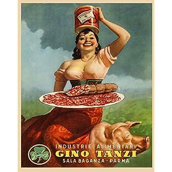 Food Lady Pig Pork Leg Prosciutto di Parma Gino 16X20 Vint Poster FREE SH