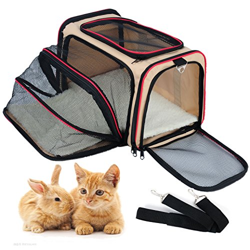 WOLTU Expandable Soft-sided Pet Carrier Pet Tote for Cats Small Dogs and Puppies,Beige, PCS04bgeS1-x by WOLTU