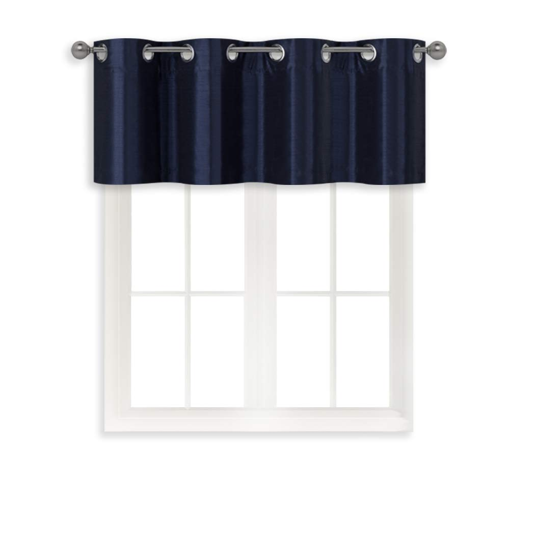 Home Queen Grommet Top Room Darkening Curtain Valance Window Treatment for Living Room, Short Straight Drape Valance, Set of 1, 52 X 18 Inch, Navy