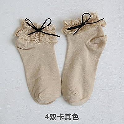 Maivasyy 4 paires de chaussettes côté dentelle coton femme court Bow chaussettes, un uniforme kaki, taille