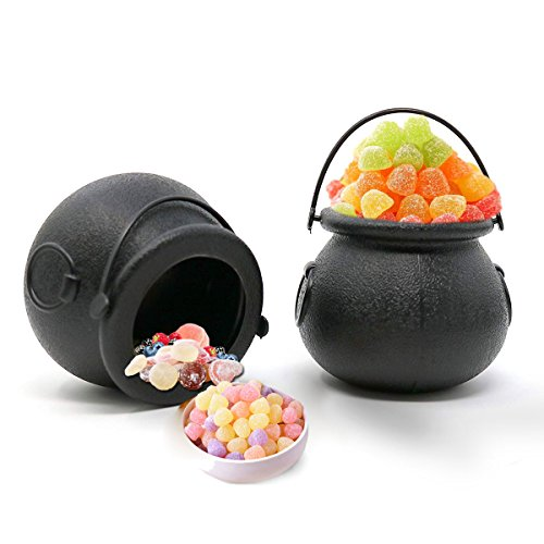 YiZYiF 12Pcs Halloween Candy Kettle Mini Plastic Witch Cauldron Candy Holder Pot Hanging Buckets with Handle for St. Patricks Day Party Favors Black One Size -