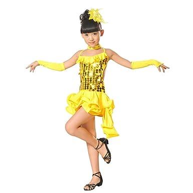 d160b4f329189 Rucan Toddler Kids Girls Latin Ballet Sparkling Sequins Dress Party  Ballroom Dance Costumes (D,