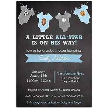 amazon com little all star chalkboard baby shower invitation mvp