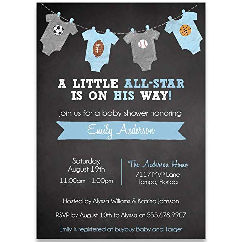 Little All Star Chalkboard Baby Shower Invitation, MVP, Boy Baby Shower, It's A Boy, Sports Baby Shower, Soccer, Football, Basketball, Baseball, 10 Pack Customized Invitations with White -