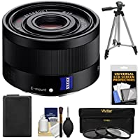 Sony Alpha E-Mount Sonnar T FE 35mm f/2.8 ZA Lens with NP-FW50 Battery + 3 UV/CPL/ND8 Filters + Tripod Kit for A7, A7R, A7S Mark II, A5100, A6000, A6300