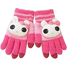 ieasysexy Good Gift for Girls Stylish Cute Winter Wool Touch Screen Gloves Mittens for iphone Smartphone Tablet (Hot Pink)