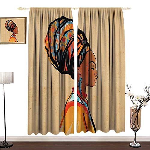 Tension Earrings Princess Set (Simple Curtain Afro Decor Ethnic Woman with Exotic Feather Earring and Scarf Zulu Hippie Artwork W120 xL84 Environmental Protection)