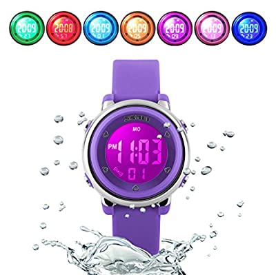 WUTONYU(TM) Children Digital Watch Kids Boy Girls LED Alarm Stopwatch Waterproof Wristwatches from WTYTY