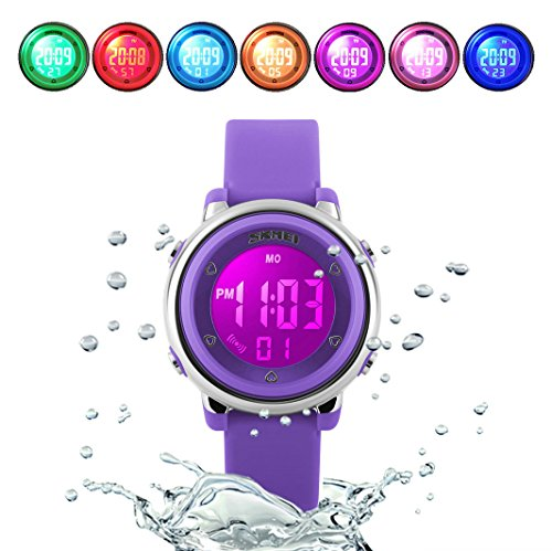 WUTONYU(TM) Children Digital Watch Kids Boy Girls LED Alarm Stopwatch Waterproof Wristwatches(Purple) by WUTONYU (Image #7)