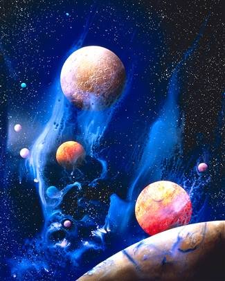 Cheap  Walls 360 Peel & Stick Space Wall Mural: Conceptualized Universe with Planets..