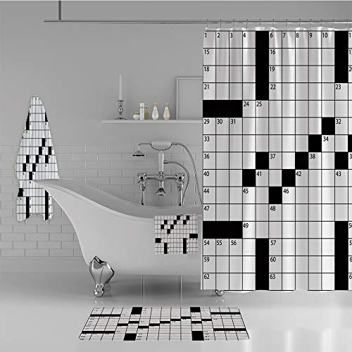 Bathroom 4 Piece Set Shower Curtain Floor mat Bath Towel 3D Print,Style Crossword Puzzle with Numbers in Word,Fashion Personality Customization adds Color to Your -