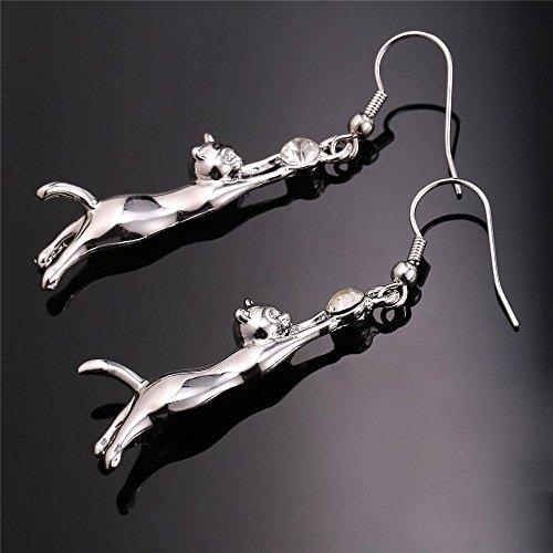 U7 Cute Cat Ear Pendant Platinum Plated Drop Earrings with Rhinestone