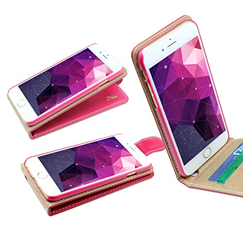 Style Iphone 6 Ultra-Soft Genuine Hot Pink Leather Flip Case Cover with Two Card Slot for Apple Iphone 6 by G4GADGET®