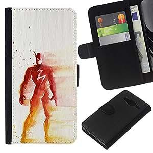 Be-Star la tarjeta de Crédito Slots PU Funda de cuero Monedero caso cubierta de piel Samsung Galaxy Core Prime ( Superhero Red Yellow Painting Art Mask )
