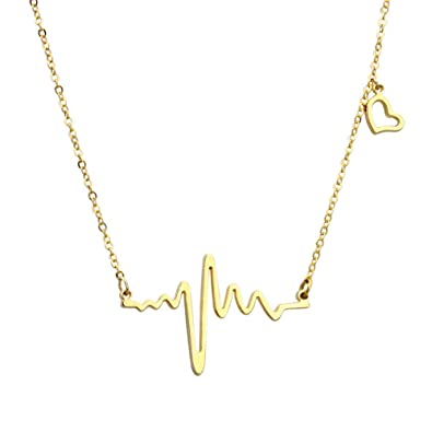13d4786bd ELBLUVF 18k Gold Plated Stainless Steel EKG Heart Beat Love Cardiogram  Necklace for Women