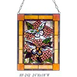 HF-242 Pastoral Vintage Tiffany Style Handmade Stained Glass Decorative Butterfly Window Hanging Glass Panel Suncatcher, 24''x18''