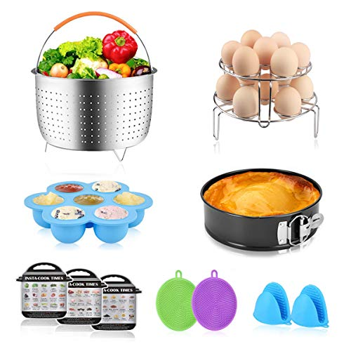 Accessories Set for Instant Pot-Fits 6,8Qt Pressure Cooker,12-Pcs with Steamer Basket/Egg Steamer Rack/Egg Bites Molds/Non-stick Springform Pan/Magnetic Cheat Sheets/Oven Mitts/Silicone Sponge