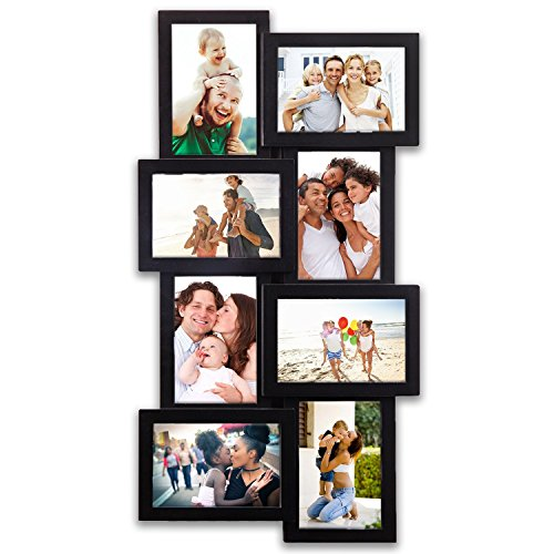 8 Opening Gallery Collage Wall Hanging Frame Set 12 by 23'' inch For 4 x 6'' inch Photo, 8 Sockets, Black Edge | By Hello Laura by Hello Laura