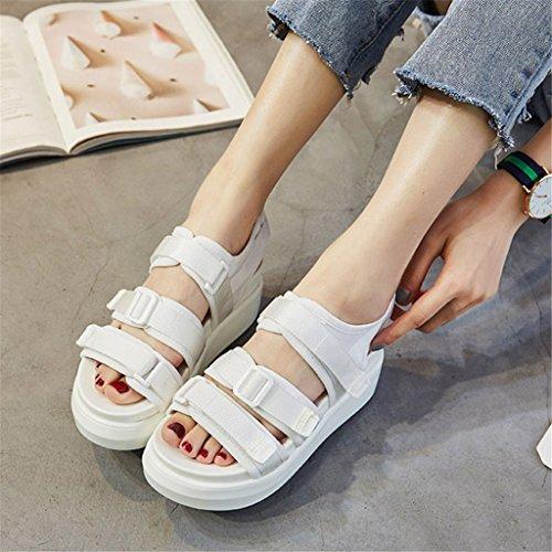 LIXIONG Portátil Sandalias de verano femeninas Magia de fondo grueso zapatos casuales Los deportes cómodos eran zapatos de estudiante delgada -Zapatos de moda ( Color : A , Tamaño : EU34/UK3/CN34 ) C