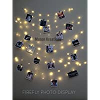 Mason FireFly Lights Silver Wire - Craft clips & Batteries included! Hangit, picture lights, photo string lights, fairy lights for dorm, fairy lights for bedroom, fairy lights hanging, fairy lights