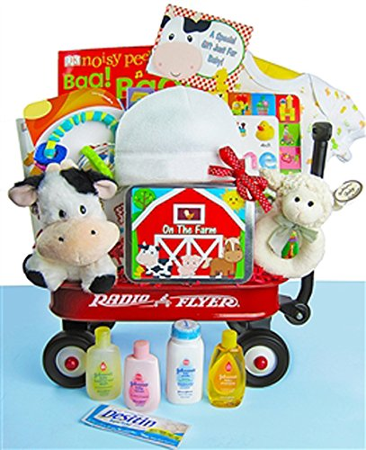 Baby Gift: ''Baby Einstein Day on the Farm'' in Miniature Radio Flyer Wagon by the cashmere bunny