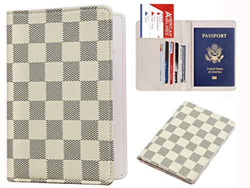 Rita Messi Luxury Passport Holder Cover Case Checkerboard PU Vegan Leather RFID Blocking Travel Organizer Card Holder(Olivia)