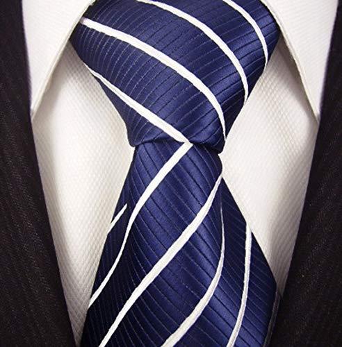 Neckties By Scott Allan - Navy Blue & White Striped Mens Tie