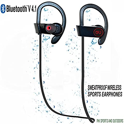 Bluetooth Sport Headphones with Mic offered by PHI Sports & Outdoors. High Definition Sound with Bass, Noise Cancelling, IPX4 Sweatproof, Secure Fit, & 6-8 Hrs Playtime.Carrying Case Included(Black)
