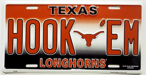 NCAA Texas Longhorns Embossed Aluminum Team Color Vanity HOOK 'EM License ()
