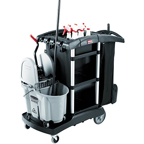 Rubbermaid Commercial Housekeeping Service Cart with 2 Caddies, Black, 1861429 - Capacity Cleaning Cart