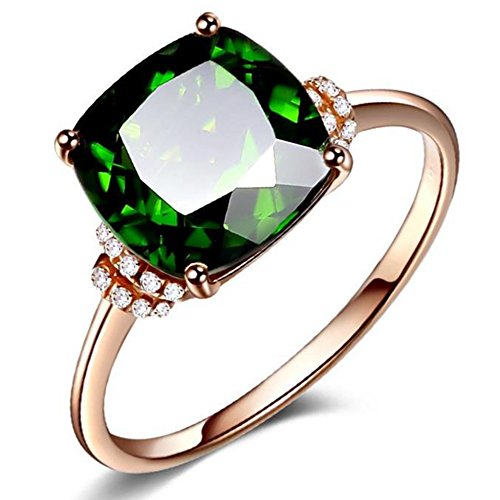 Princess Square Rings of 18K Rose Gold Plated Inlay Emearld Green Gem Stone Crystal Bands for Girls(6) (Rings Green Stone)