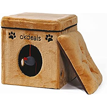 Collapsible Cat House Cat Cube with Soft Mat for Small Dog Cat,Folding Cat Condo Pet Play House Bed
