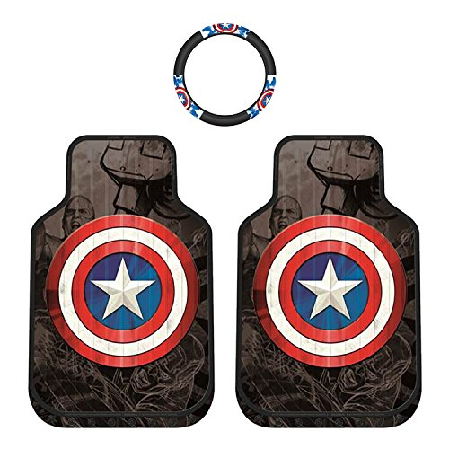 Marvel's Captain America Universal Front Rubber Car Truck Floor Mats & Steering Wheel Cover