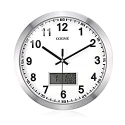 COZIME 12 Inches Non-ticking Wall Clock with LCD Calendar, Indoor Temperature, Week Multi-Function Display PVC Acrylic Mirror Aluminum Silvery Frame Decor Clock (Silver)
