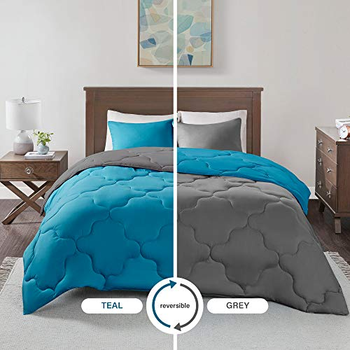 Comfort Spaces Vixie 3 Piece Comforter Set All Season Reversible Goose Down Alternative Stitched Geometrical Pattern Bedding, Full/Queen, Teal/Grey (And Bedding Grey Teal)