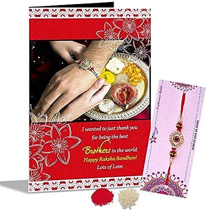 Designer red gem rakhi happy raksha bandhan greeting card amazon designer red gem rakhi happy raksha bandhan greeting card m4hsunfo