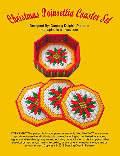 Christmas Poinsettia Coaster Set: Plastic Canvas Pattern