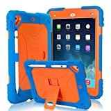 Kids Case for iPad 9.7 2018/2017 Case Heavy Duty with Apple Pencil Holder & Kickstand Full Body Protective Hybrid Silicone Cover Shockproof for iPad 9.7 5th / 6th Generation (Blue/Orange)