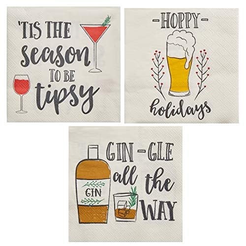 Cocktail Napkins - 150-Pack Disposable Paper Napkins, Christmas Holidays Dinner Party Supplies, 3-Ply, 3 Assorted Drinking Puns Design, White, Unfolded 10 x 10 Inches, Folded 5 x 5 Inches