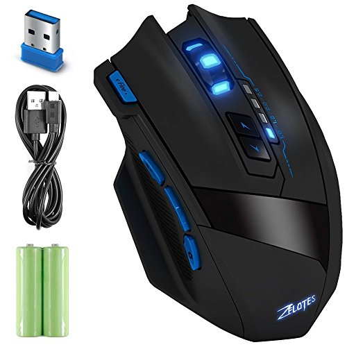 Wireless Gaming Mouse, 9 Button 4 Levels Adjustable DPI 2.4 GHz Game Mouse Rechargeable Optical Mice Zelotes F15 Wireless/ Wired Mobile Mice for Notebook PC Compute Laptop Mac USB Receiver (3000 mAh)