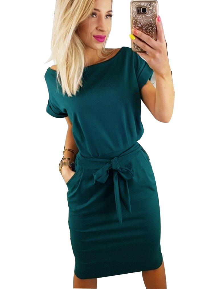 Kancystore Women's Causal Short Sleeve Belted Pencil Dress with Pockets (L, Dark Green)