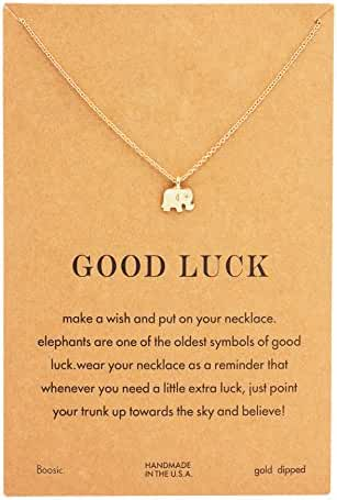 Boosic Elephant Circel Angel Wing Lotus Pendant Wish Necklace Message Card Chain Necklace Best Gifts