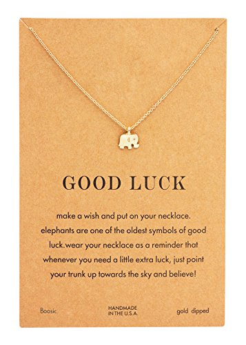 Boosic Make A Wish Good Luck Elephant Pendent Necklace With Message Card